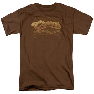Cheers Scrolled Logo Short Sleeve T-Shirt Adult Unisex TV Show Brown