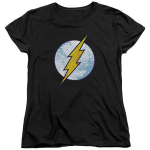 The Flash Neon Distressed Logo Short Sleeve Women's T-Shirt Black