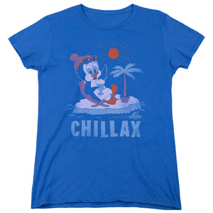 Chilly Willy Chillax Short Sleeve Women's T-Shirt Animated Penguin