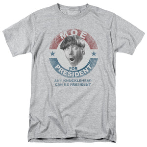 Moe For President Short Sleeve T-Shirt The Three Stooges Cotton Adult Unisex