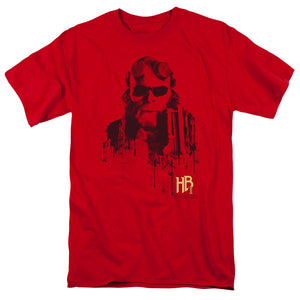 Hellboy II Splatter Gun Short Sleeve T-Shirt Adult Unisex Movie Fandom Red