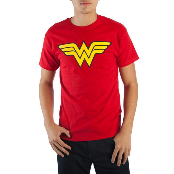 Wonder Woman Logo Men's Red T-Shirt Soft Hand Print DC Comics