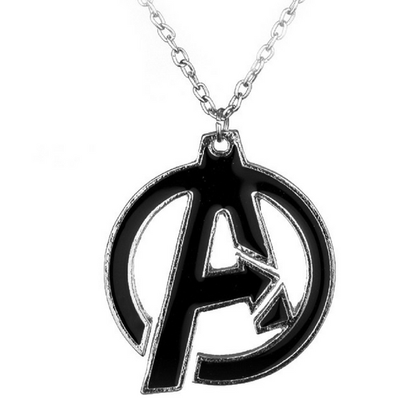 Avengers Black Symbol Logo Pendant Necklace Resin Jewelry Unisex Silver