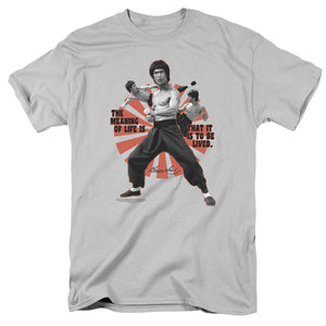Bruce Lee The Meaning Of Life Short Sleeve T-Shirt Adult Unisex Silver