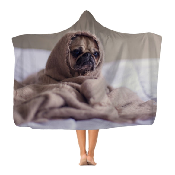 Dog All Wrapped Up Premium Adult Hooded Blanket Custom Print Cute Dogs