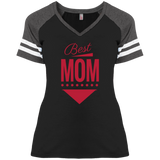 Best Mom V-Neck Women's T-Shirt Short Sleeve District Ladies Game Style Tee