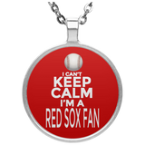 I'm A Red Sox Fan Circle Pendant Necklaces Unisex Boston Baseball