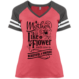 A Mother Is Like A Flower V-Neck Women's T-Shirt District Ladies Game Style Tee