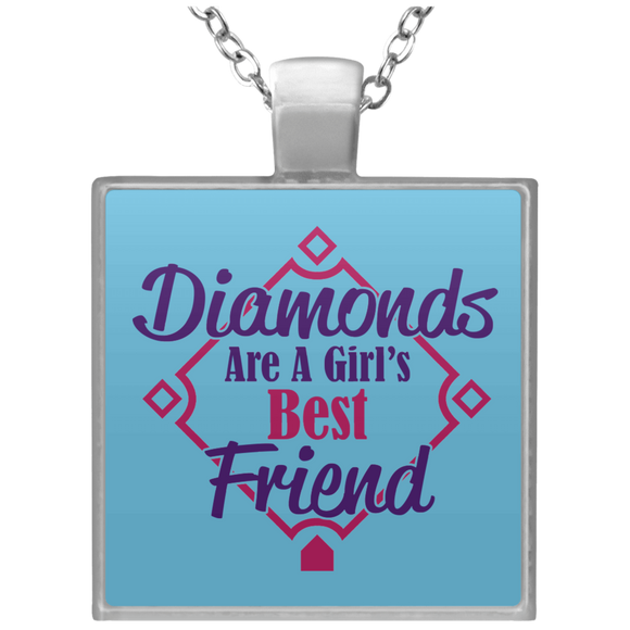 Diamonds Are A Girl's Best Friend Square Pendant Necklace Baseball Fan