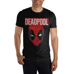 Deadpool 2 Movie Costume Face Adult Fitted Black T-Shirt Marvel Comics
