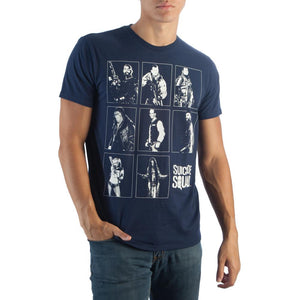 Suicide Squad Characters Grid T-Shirt Harley Quinn Joker Deadshot Unisex Navy