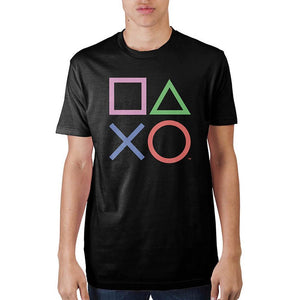 Playstation Controller Buttons Black T-Shirt Custom Tee Adult Fitted Tee