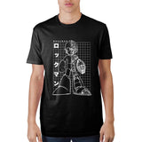 MegaMan Grid Graphic Print Short Sleeve T-Shirt Character Capcom Black Tee