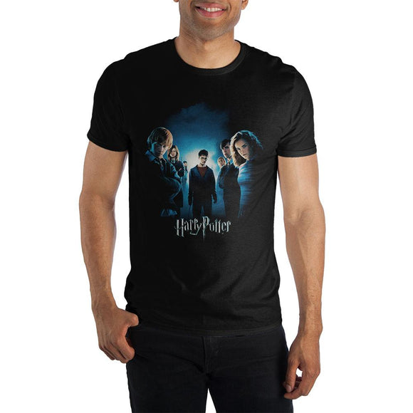 Teenage Harry Potter With Friends Short Sleeve Men's T-Shirt Black