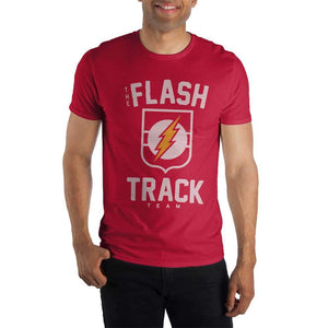 The Flash Track Team Logo Short Sleeve Men's T-Shirt Superhero Fitted Red Tee