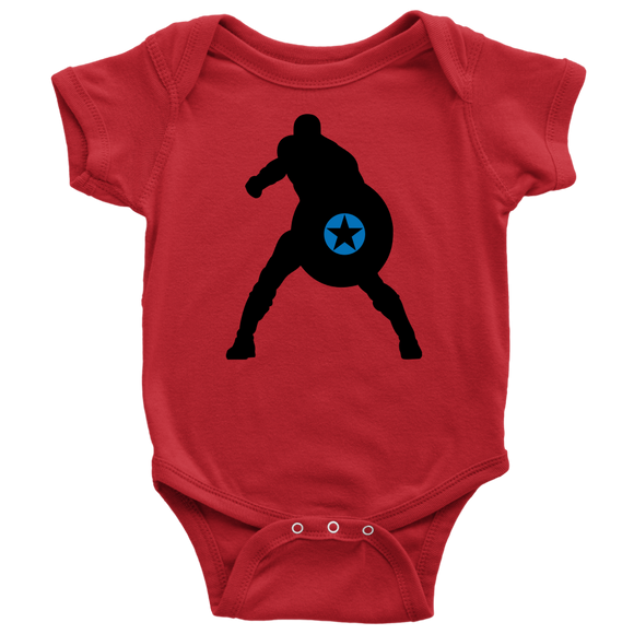 Captain America Silhouette Baby Bodysuit Superhero Newborn Infant Toddler Snapsuit