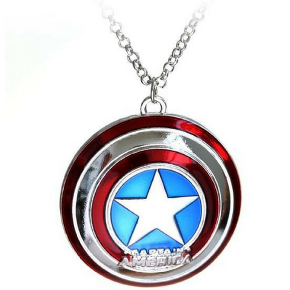 Captain America Shield Pendant Necklace Marvel First Avenger Moive Jewelry