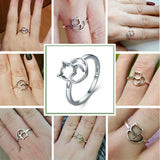 Cat & Heart Ring Sterling Silver Love Cats Women's Fashion Jewelry