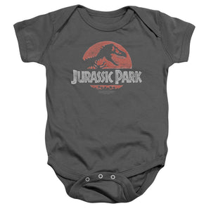 Jurassic Park Faded Logo Infant Snapsuit One-Piece Baby Toddler Charcoal