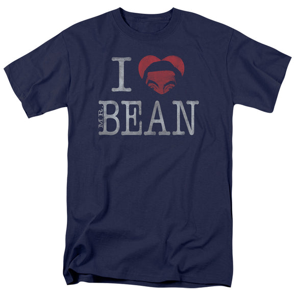 I Heart Mr. Bean Short Sleeve T-Shirt Adult Unisex Navy Blue