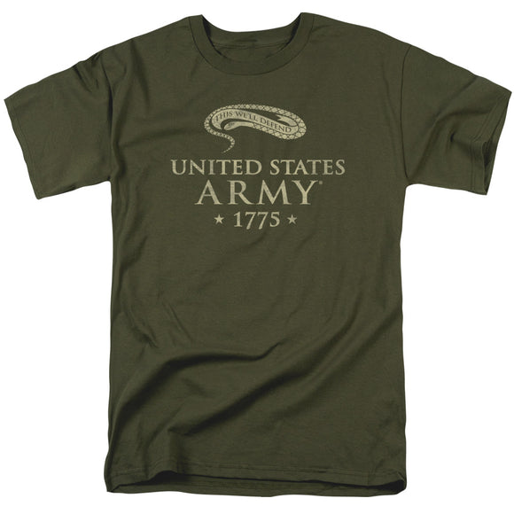 US Army We'll Defend Short Sleeve T-Shirt Adult Unisex Proud Military Green