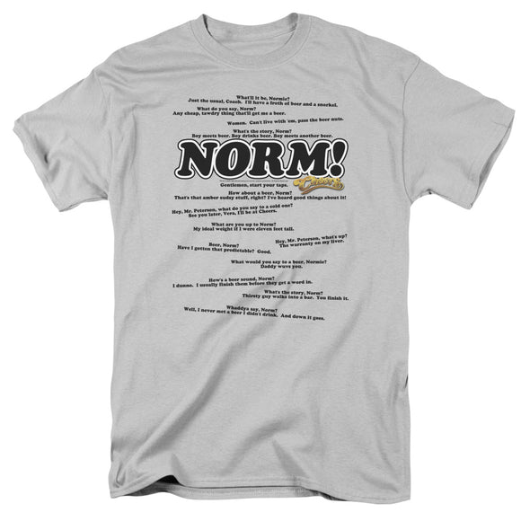 Cheers Normisms Short Sleeve T-Shirt Adult Unisex Silver