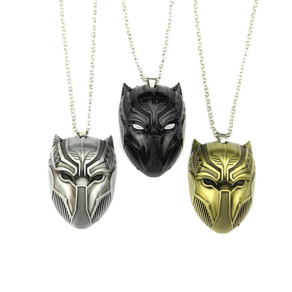 Black Panther Mask Pendant Necklace Wakanda King T'Challa Superhero Unisex