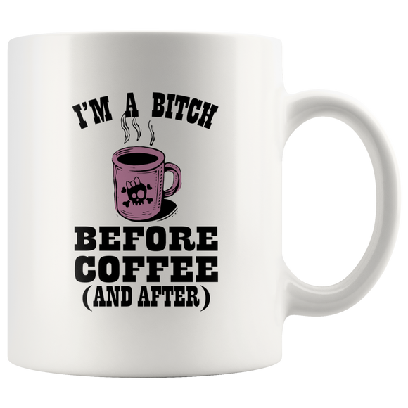 Before Coffee And After 11oz White Ceramic Coffee Mug