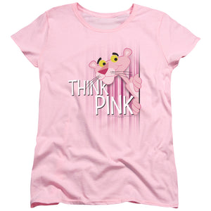 Think Pink Short Sleeve Women's T-Shirt Cotton Classic Animated Panther