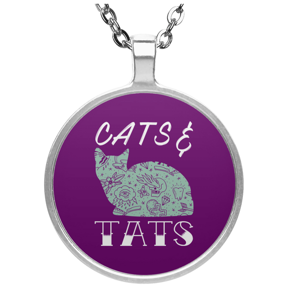 Cats and Tats Circle Pendant Necklaces 20