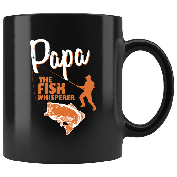 Papa The Fish Whisperer Black Ceramic Mug 11oz Cup Double Sided Print