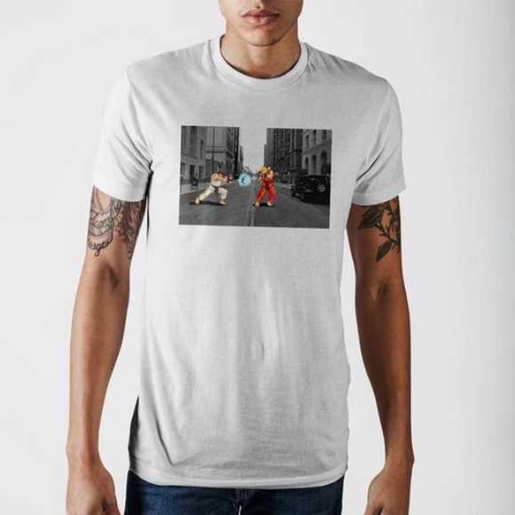Street Fighter Ryu And Ken Masters Short Sleeve T-Shirt Action Shot Adult Tee