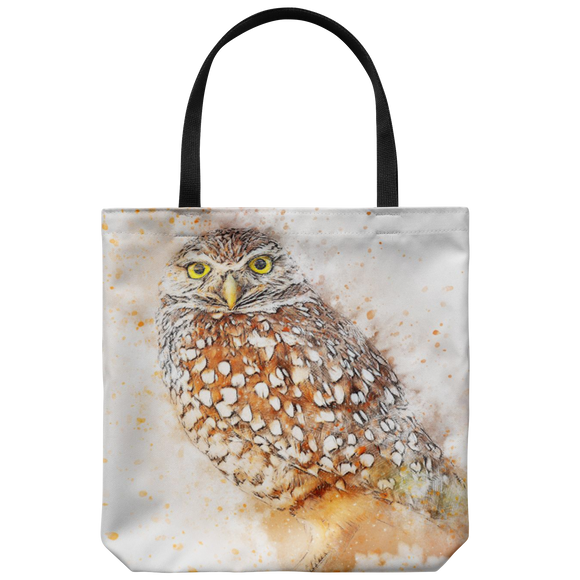 Owl Art Print Tote Bag Everyday Travel Beach Printed On Both Sides Great Gift Idea