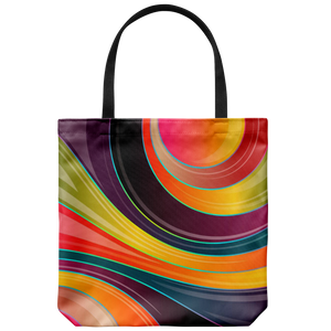 Swirls of Color Art Graphic Tote Bag Double Sided Print Shoulder or Carry Bags