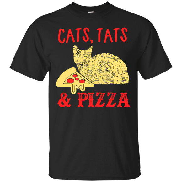 Cats Tats Pizza Short Sleeve Unisex T-Shirts Adult Cotton Humor Tees Multiple Colors