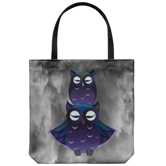 Owls Smoky Backdrop Tote Bags Shoulder or Carry Double Sided Print Travel Beach