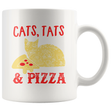 Cats Tats And Pizza White Ceramic Mug 11oz Coffee Cup Double Sided Print