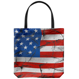 Cracked US Flag Design Everyday Tote Bag Memorial Day Double Sided Print Bags