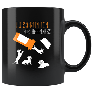 Furscription For Happiness 11oz Black Ceramic Coffee Mug