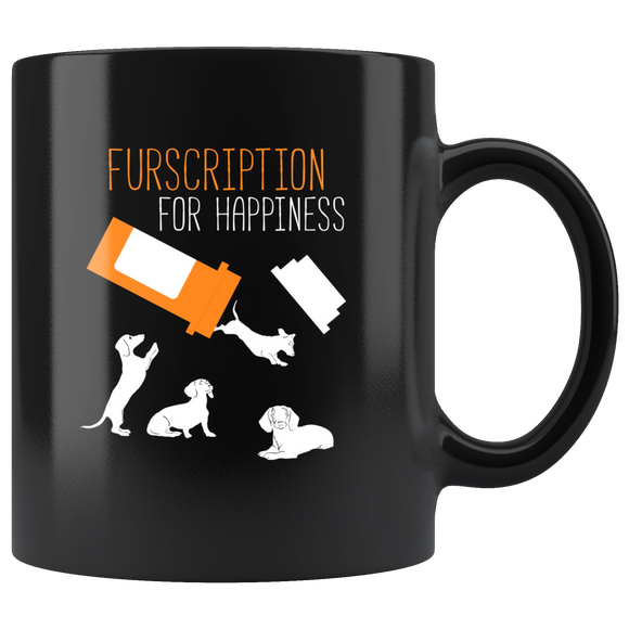 Furscription For Happiness Black Ceramic Mug 11oz Coffee Cup Double Sided Print