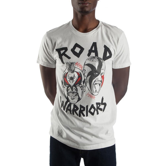 WWE Road Warriors Men's T-Shirt Animal and Hank Wrestling Fitted Tee White