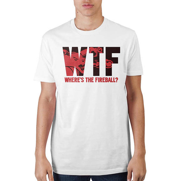 WTF Where's The Fireball Short Sleeve T-Shirt Adult Cotton White