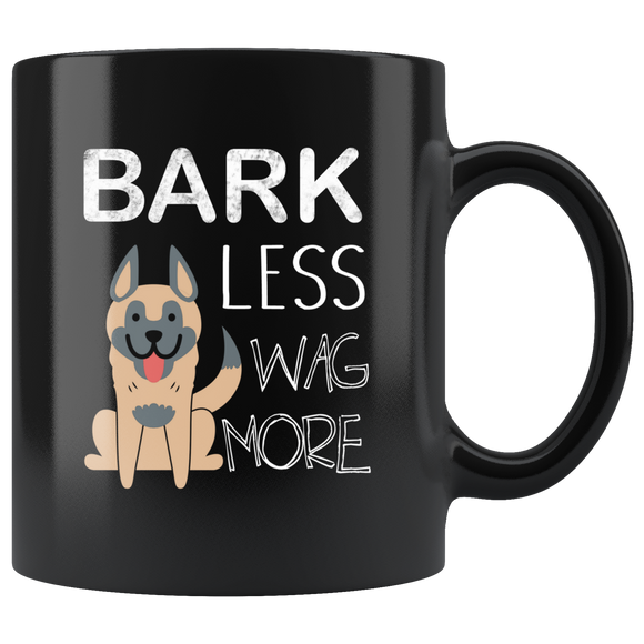 Bark Less Wag More Black Ceramic Mug 11oz Coffee Cup Double Sided Print