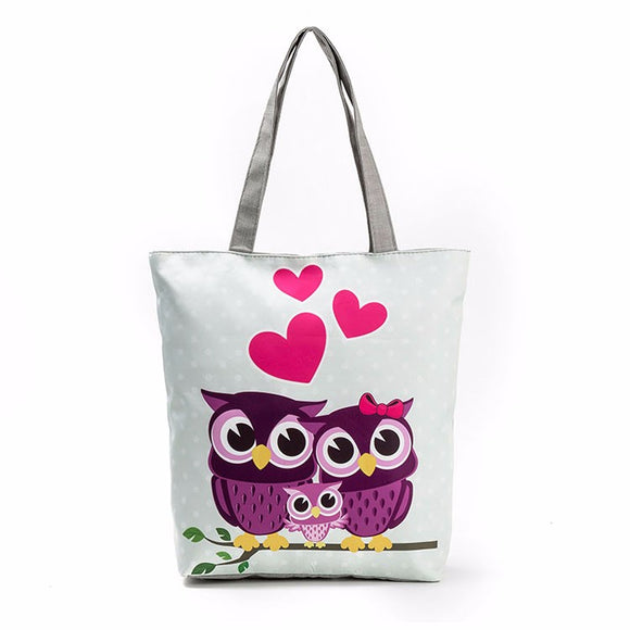 Women's Owl Tote Bag Canvas Zipper Cartoon Print Large Carry Shoulder