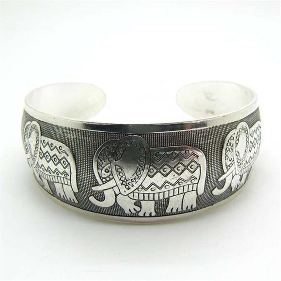 Women's Elephant Cuff Bracelet Vintage Bangle Tibetan Antique Silver Plated