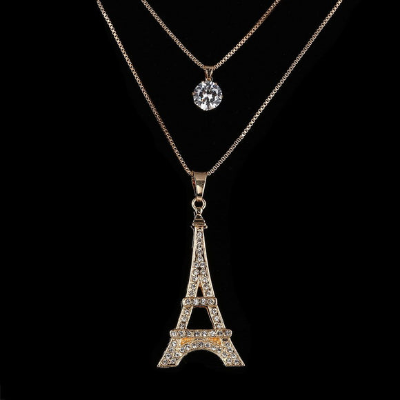 Women's Eiffel Tower Paris Crystal Multi-Layer Pendant Necklace Gold