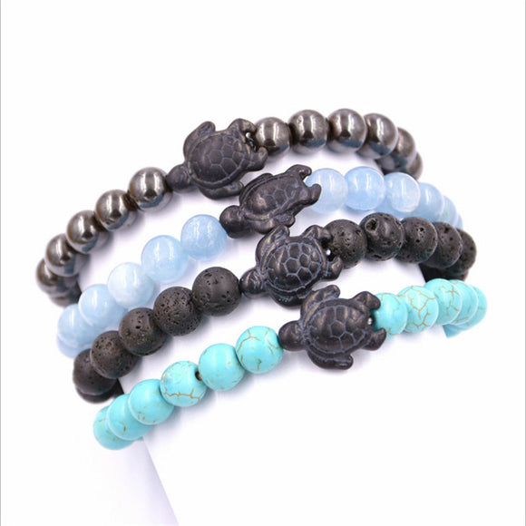 Black Sea Turtle Beaded Bracelets Lava Blue Gray Turquoise Stones Unisex