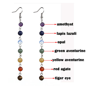 Yoga 7 Chakra Beads Drop Earrings Round Color Gemstones Silver Women