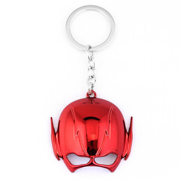 Flash Mask Keychain DC Comics Fans Barry Allen Superhero Silver Red