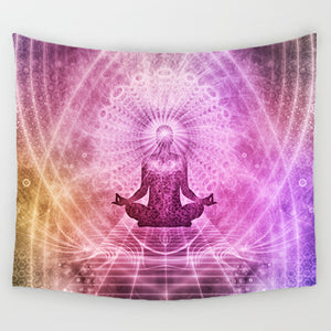 Yoga & Chakra Meditation Tapestry Throws Mat Rug Wall Hanging Home Decor